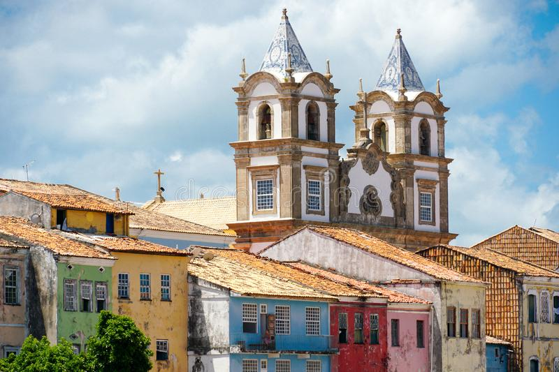 Colorful historic district of Pelourinho with cathedral on the background. Salvadore, Bahia, Brazil. Colorful historic district of Pelourinho with cathedral on stock photos