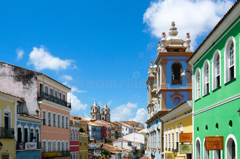 Colorful historic district of Pelourinho with cathedral on the background. Salvadore, Bahia, Brazil. Colorful historic district of Pelourinho with cathedral on royalty free stock photo