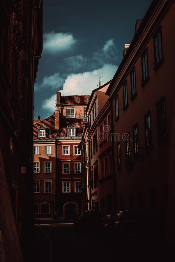 Colorful historic tenement houses in Old Town Warsaw city. Travel to Poland. Tourism concept. Polish architecture. City tour. royalty free stock image