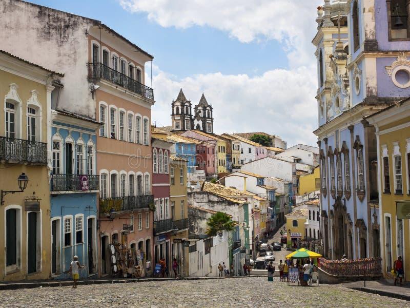 Colorful Historical Buildings in Pelourinho, Salvador, Bahia, Br stock photo