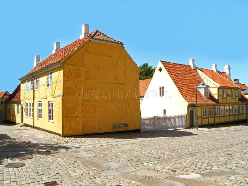 Colorful Historical Danish Buildings in Roskilde Town, Denmark, Scandinavia royalty free stock photos