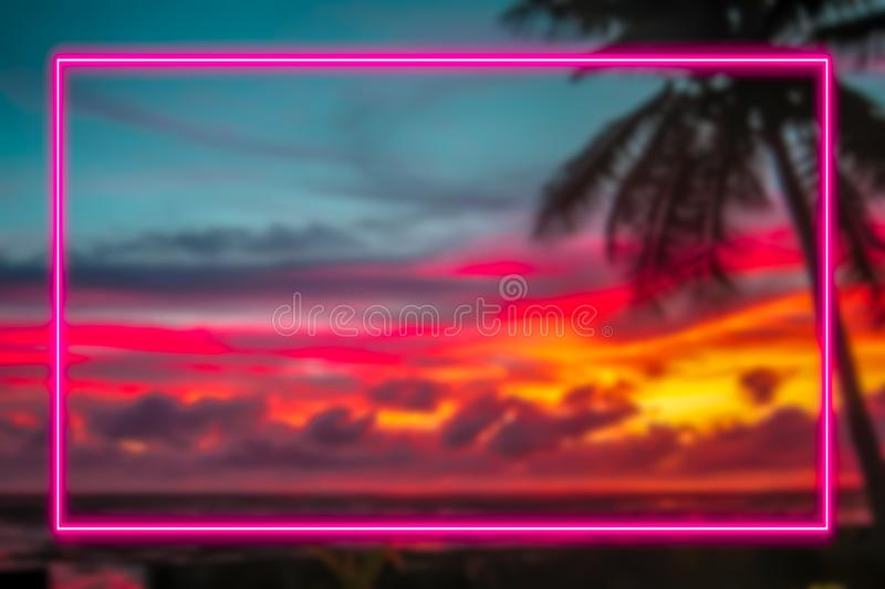 Colorful holiday and 80s concept sign with pink neon lights frame. stock illustration