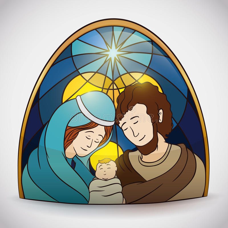 Colorful Holy Family Portrait Stained Glass, Vector Illustration stock photos
