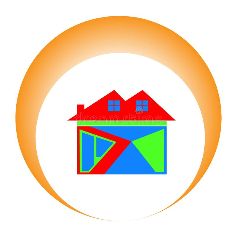 colorful home icon with the sun behind it as a symbol of success. with a white background vector illustration