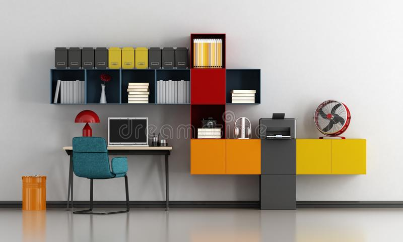 colorful home office. Download Colorful Home Office Stock Illustration. Illustration Of Rendering - 112654257