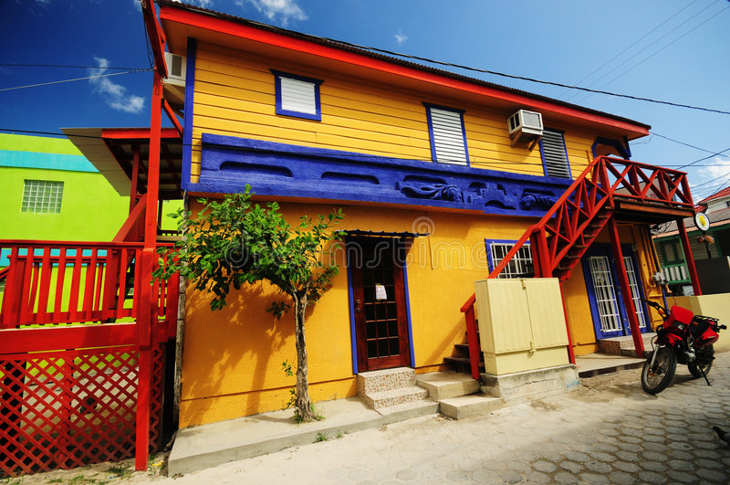 Colorful home San Pedro Belize. Exterior architectural details of colorful home in town on San Pedro, Ambergris Caye island, Belize