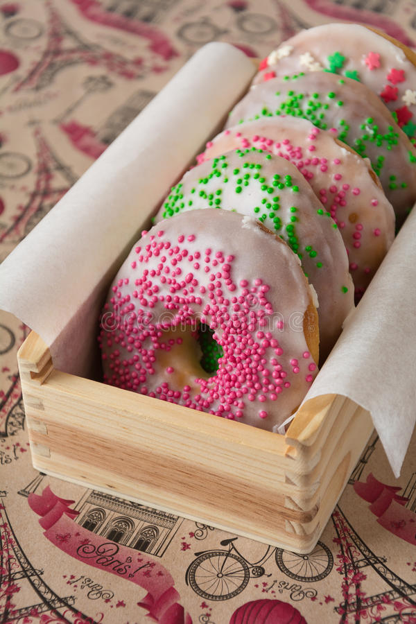 Colorful homemade donuts. Close up colorful homemade donuts stock photo