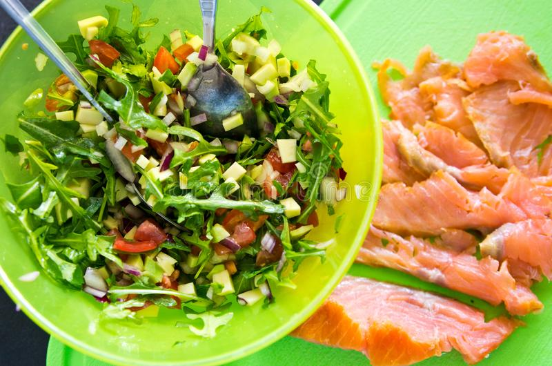 Homemade healthy sandwiches with salmon and avocado stock images