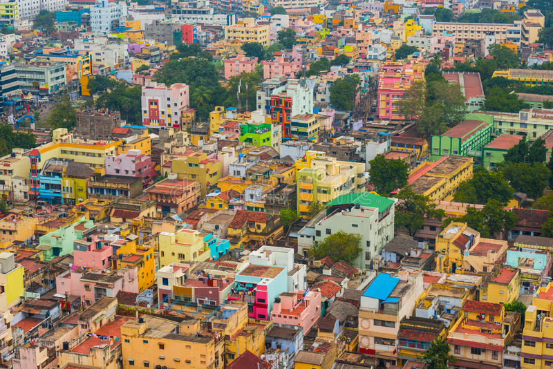 Colorful homes in crowded Indian city. Trichy stock photo
