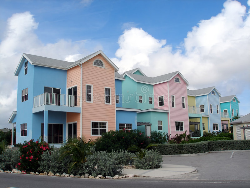 Colorful homes on Grand Cayman stock image