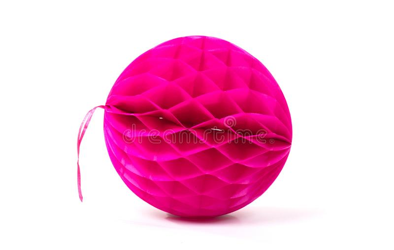 Colorful honeycomb round paper ball isolated. On white background stock photo