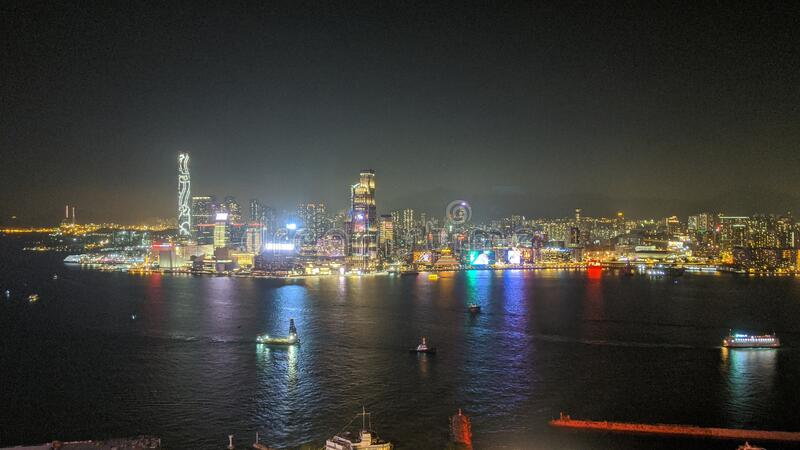 Colorful Hong Kong Victoria Harbour Night Skyline 2019 royalty free stock photo