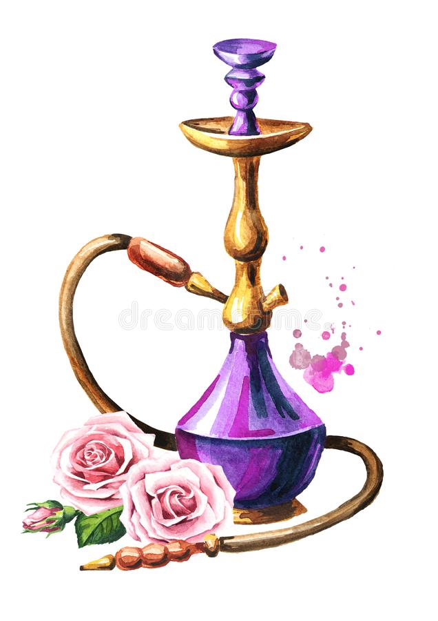 Colorful hookah with rose flower. Watercolor hand drawn illustration, isolated on white background stock illustration