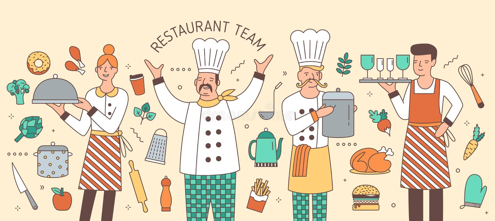 Colorful horizontal banner with chief, cook, waiter and waitress surrounded by food products and kitchen utensils vector illustration