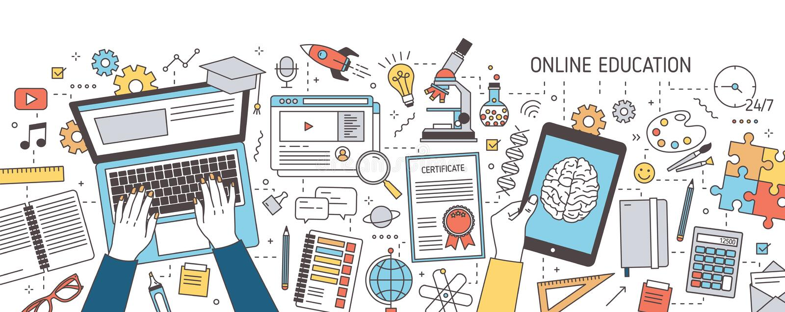 Colorful horizontal banner with hands typing on laptop and holding tablet computer and various office supplies. Distance. Online education, internet learning royalty free illustration