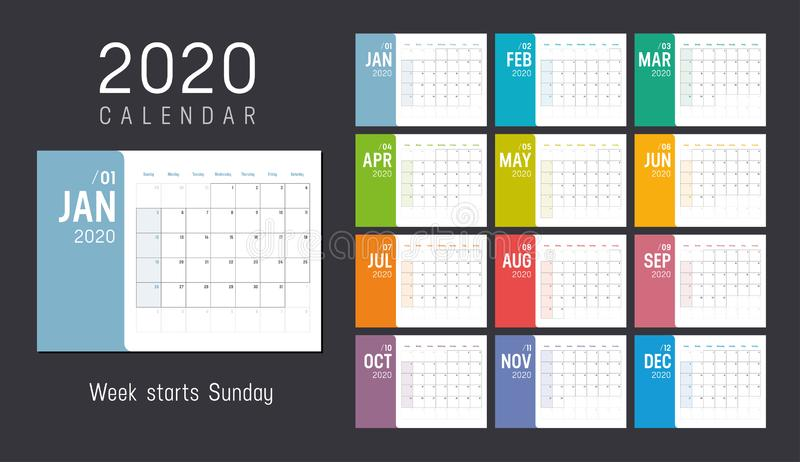Colorful 2020 horizontal monthly calendar. Year 2020 colorful minimalist monthly calendar on black background. Week starts Sunday. Vector template stock illustration
