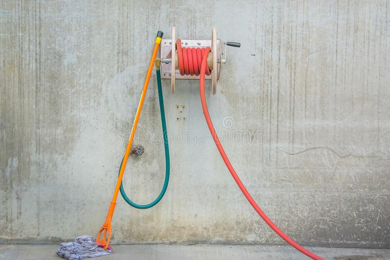 Hose and mop stock photo