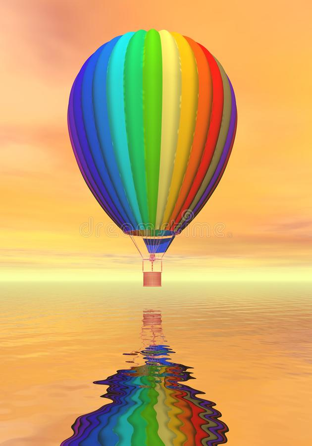 Colorful Hot Air Balloon - 3D Render Royalty Free Stock Photo