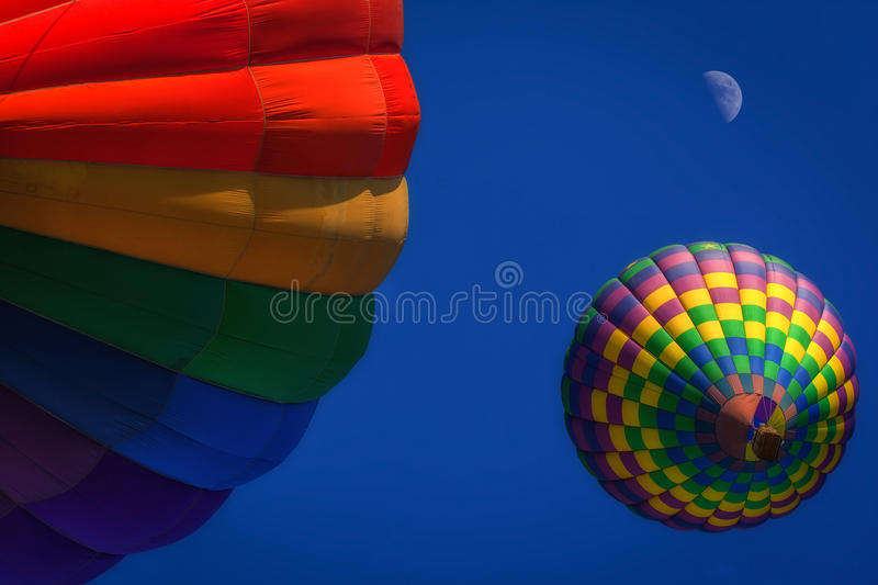 Colorful hot air balloons stock images