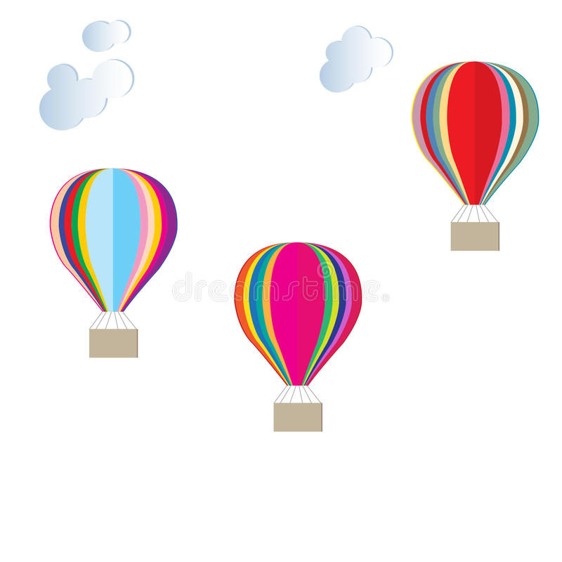 Colorful Hot air balloons clouds stock illustration