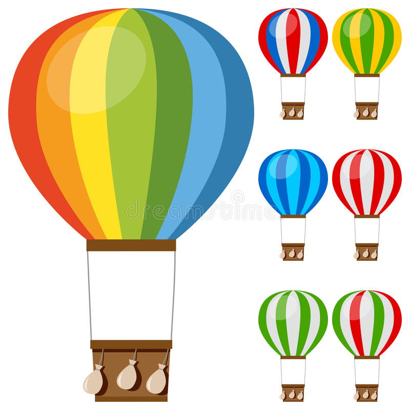 Colorful Hot Air Balloons Collection. Set of colorful hot air balloons, isolated on white background. Eps file available vector illustration