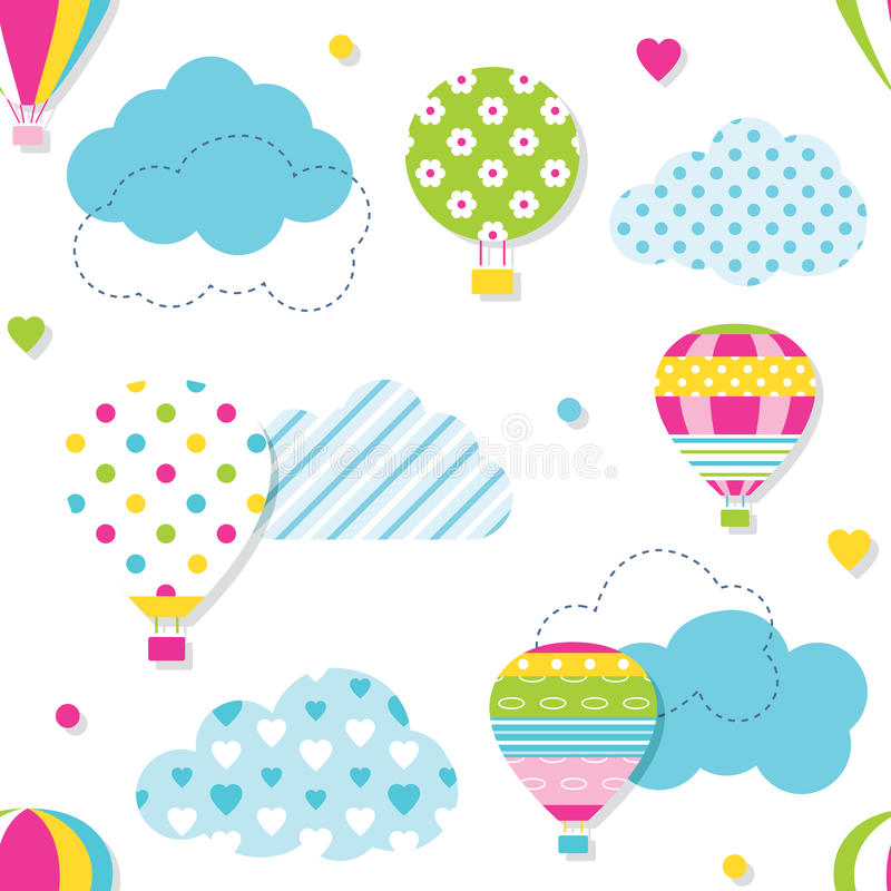 Colorful hot air balloons pattern. Illustration of colorful hot air balloons collection with blue patterned clouds, hearts and dots on white background stock illustration