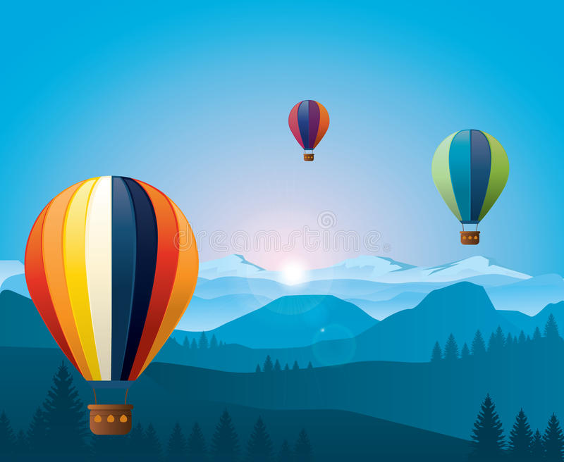 Colorful hot air baloons flying over mountains. vector illustration