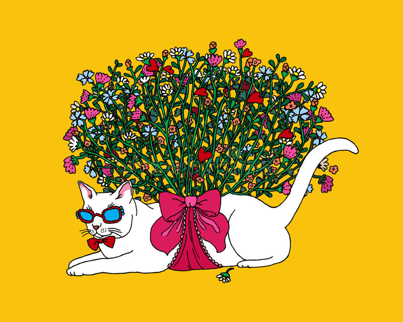 Colorful Hot Summer Cat with Bouquet of Flowers. stock image