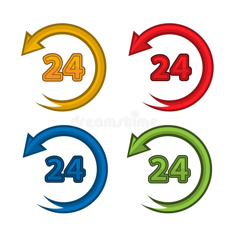 Colorful 24 hours vector set icons. Open around the clock serving clock arrow sign. EPS file available. see more images related vector illustration