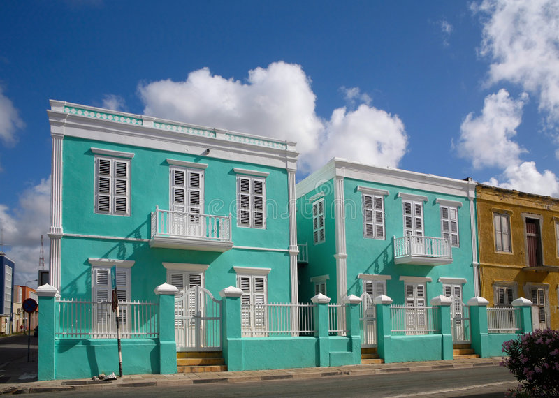 Colorful house in the caribbean stock image