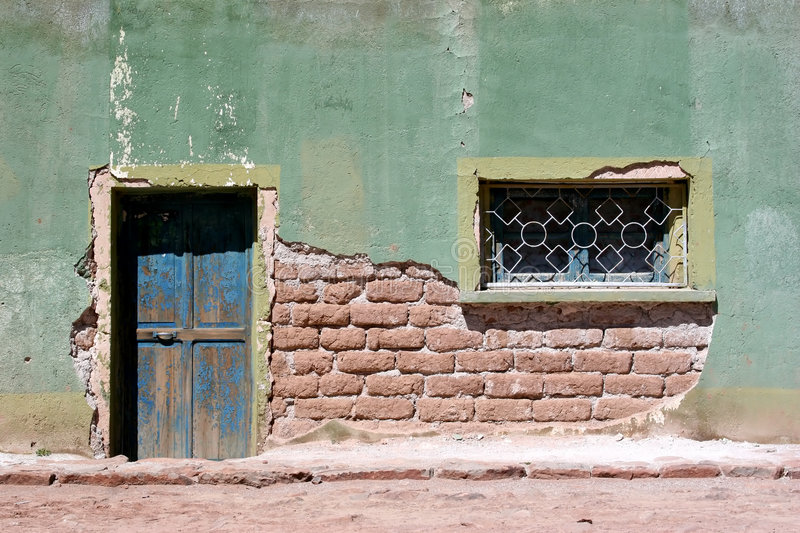 Colorful House Front. In Bolivia royalty free stock photography