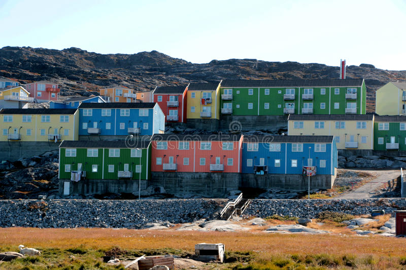Colorful house in Ilulissat, Greenland stock photos