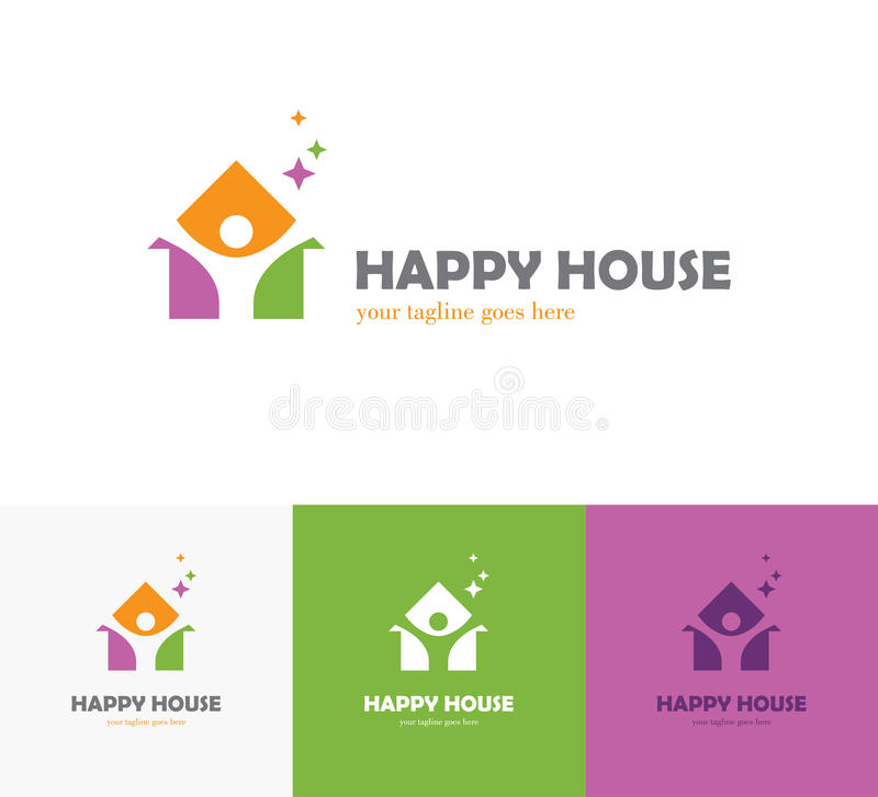 Colorful house logo with abstract man silhouette vector illustration