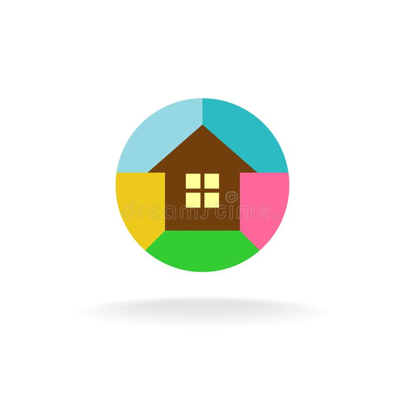 Colorful house logo stock illustration