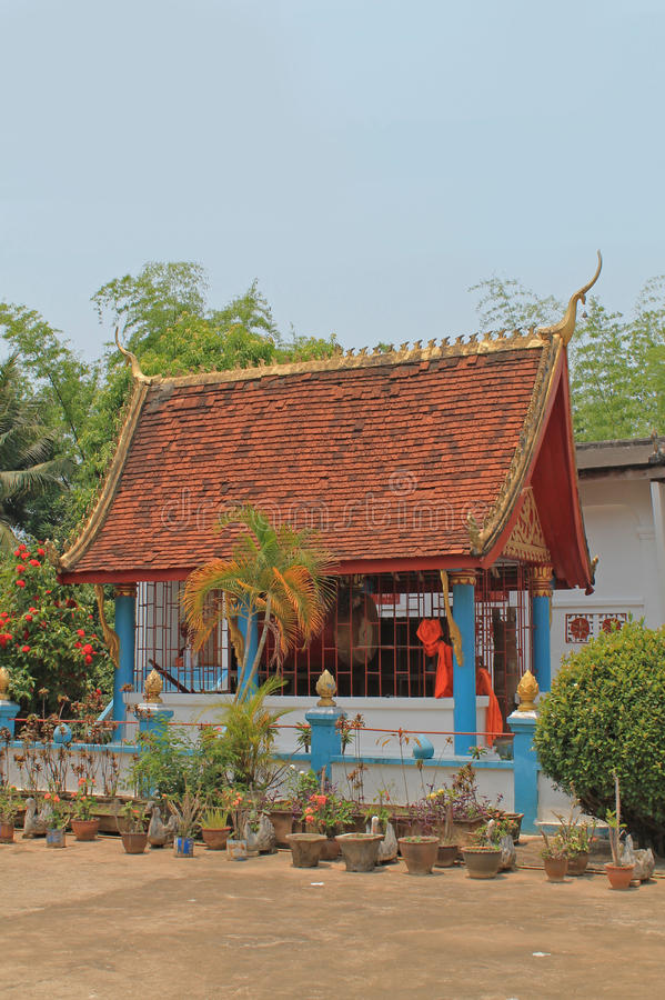 Colorful house at the monastery, Laos. royalty free stock photography