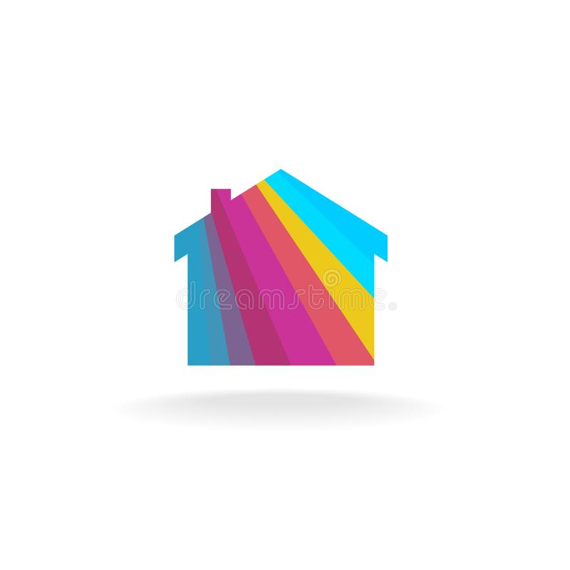 House symbol with color rays stock illustration
