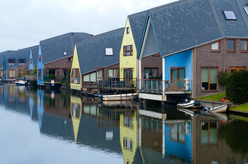 Colorful houses. At the island district, Almere, the youngest city in the Netherlands stock photo