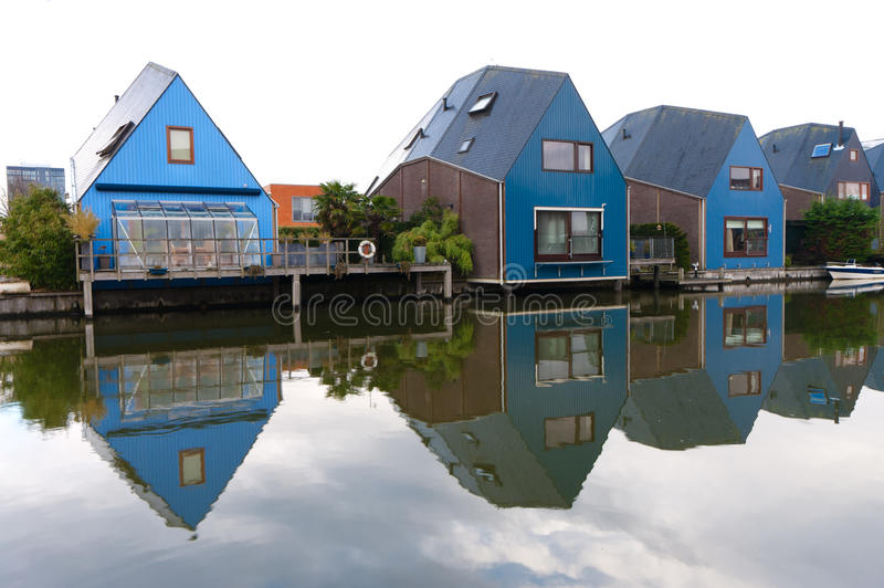 Colorful houses. At the island district, Almere, the youngest city in the Netherlands royalty free stock photo