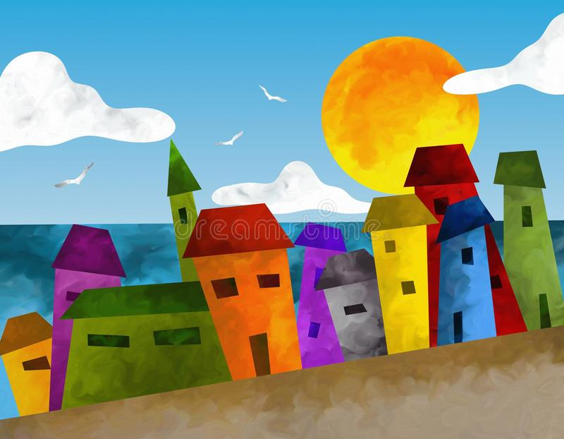 Download Colorful houses stock illustration. Image of view, water - 28419429