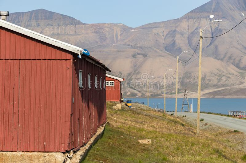 Colorful houses along the road in summer at Longyearbyen, Svalbard. Colorful houses along the road in summer in Longyearbyen, Svalbard stock image