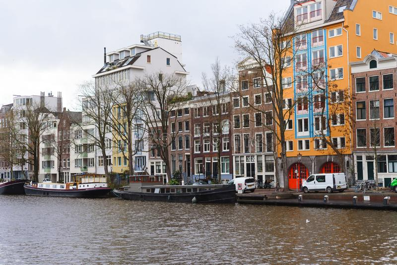 Colorful houses and architecture of Amsterdam, the Netherlands royalty free stock images