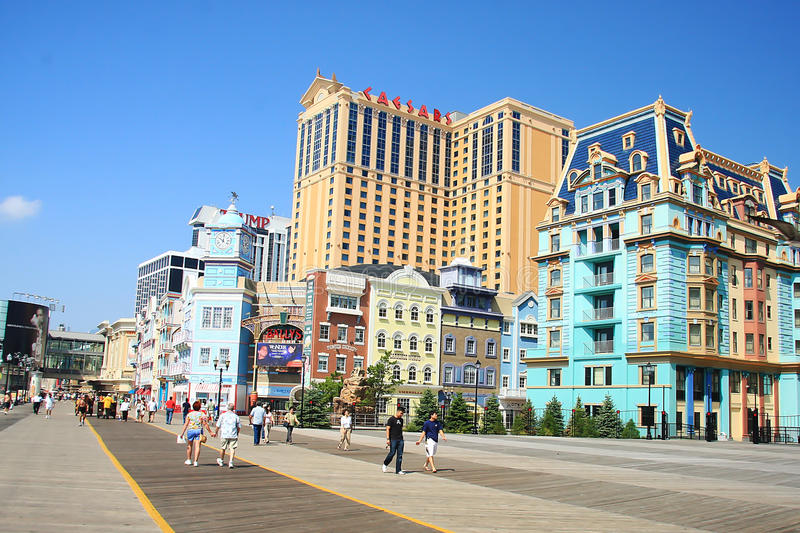 Colorful houses in Atlantic City. Boardwalk in Atlantic City, New Jersey,Photo taken on August 16th,2009 stock photography