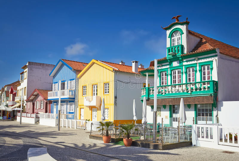 Colorful houses in Aveiro, Portugal. Colorful houses in Aveiro at summer day, Portugal stock photography