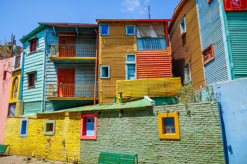 Colorful houses in Caminito, Buenos Aires stock images