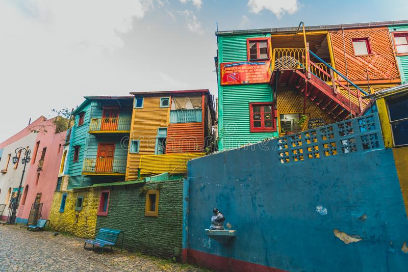 BUENOS AIRES, ARGENTINA - March 16, 2016: Colorful houses on Caminito street royalty free stock photos