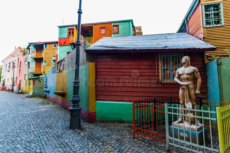 BUENOS AIRES, ARGENTINA - March 16, 2016: Colorful houses on Caminito street royalty free stock photo