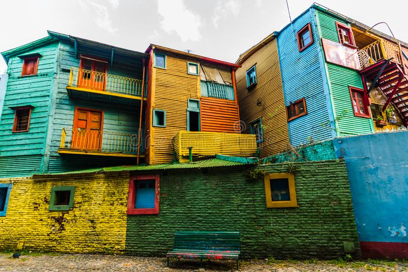 BUENOS AIRES, ARGENTINA - March 16, 2016: Colorful houses on Caminito street royalty free stock photography