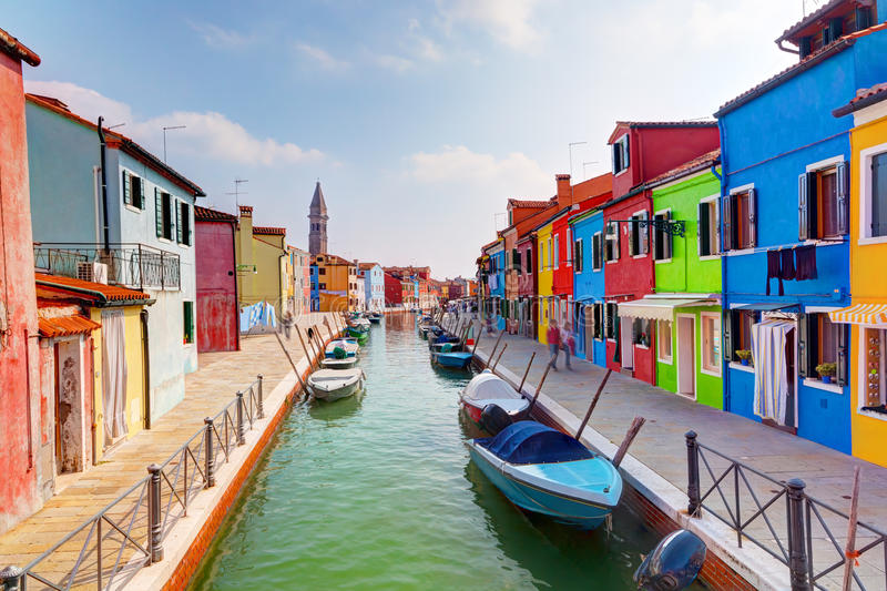 Colorful houses and canal on Burano island, near Venice, Italy. stock image