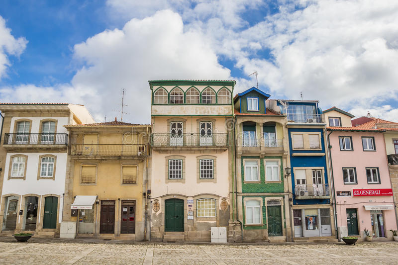 Colorful houses at the central square of Chaves. Portugal royalty free stock image
