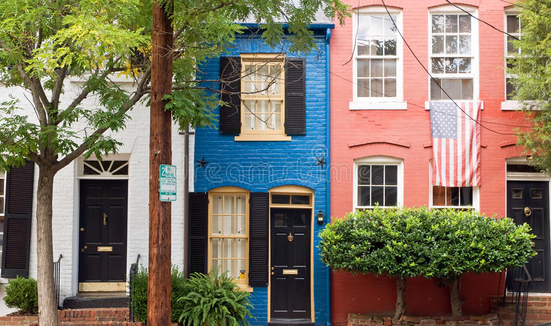 Colorful Houses On City Street Stock Photo